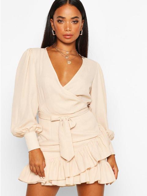 Clothing, Shoulder, Dress, Neck, Fashion model, Sleeve, Fashion, Day dress, Beige, Cocktail dress,