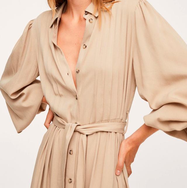vestido camisero de lyocell plisado de mango para looks de oficina