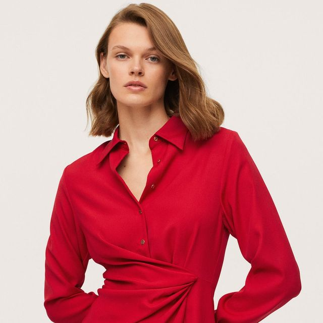 vestido camisero rojo de mango