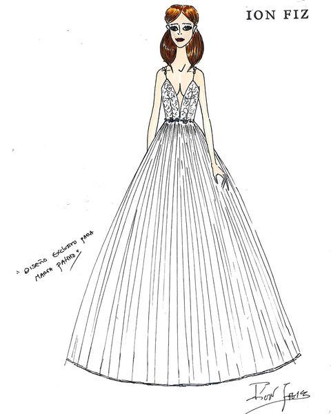 Boceto del vestido de novia de María Patiño diseñado por Ion Fiz