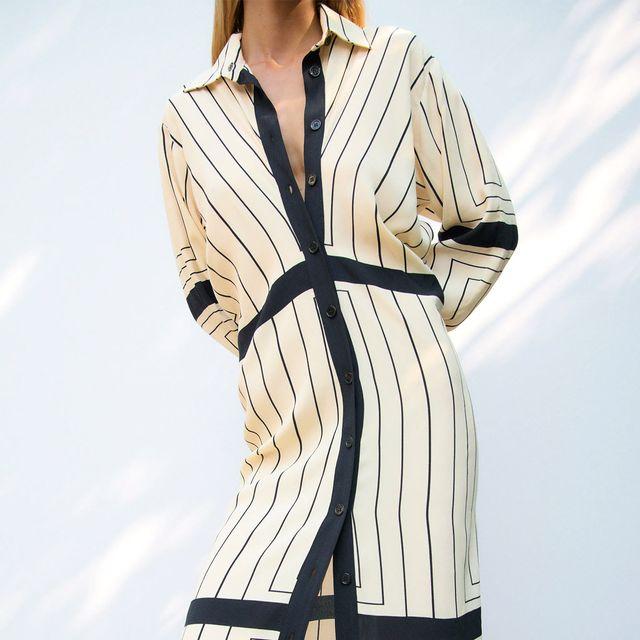 vestido largo camisero de zara