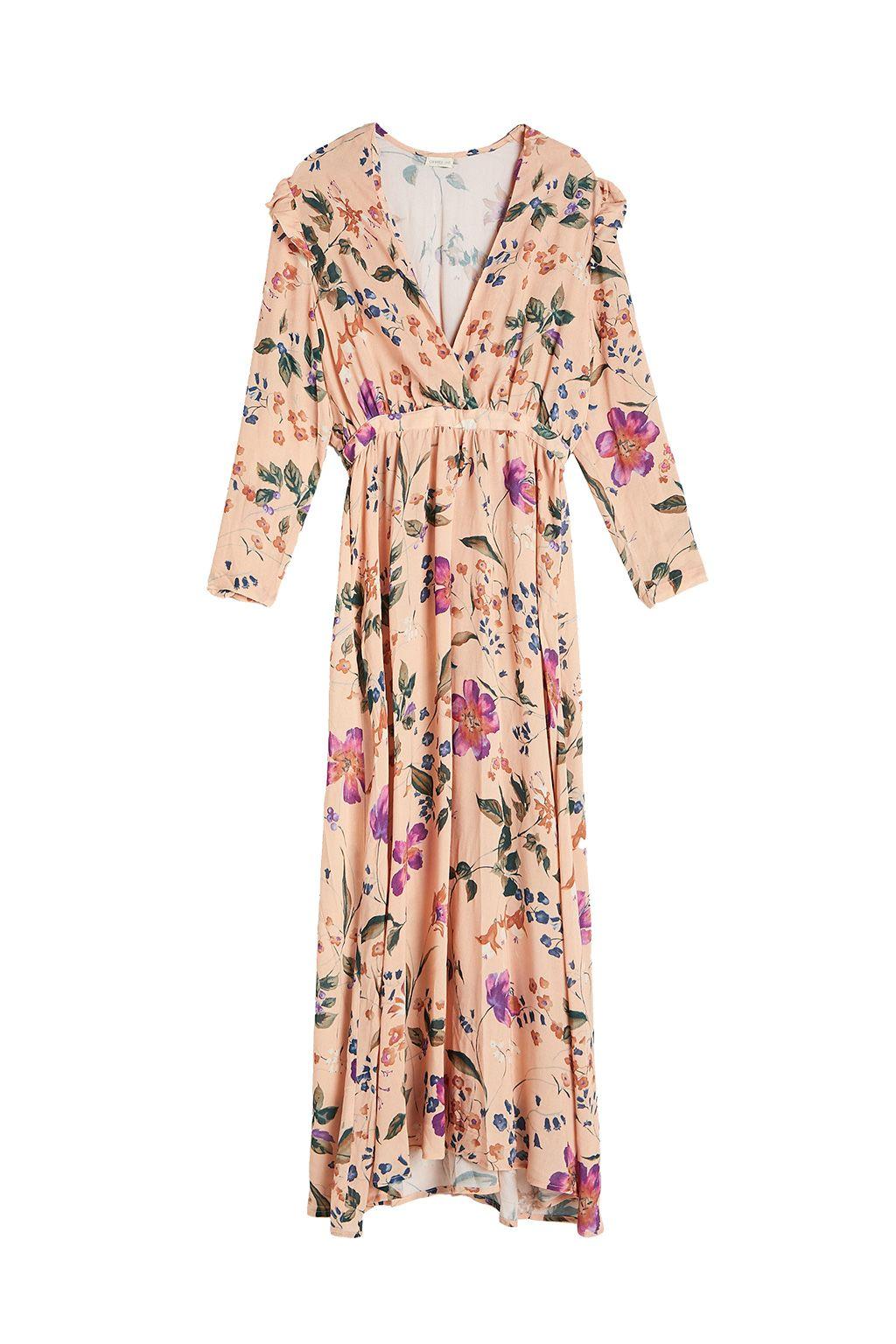 Vestido largo flores, de Oysho