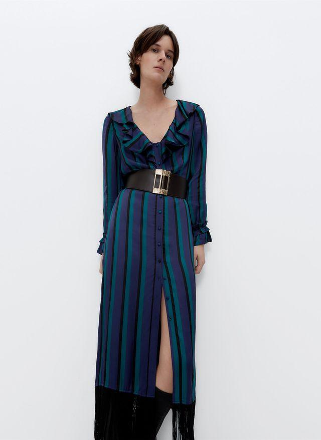 vestido de rayas con flecos de uterque
