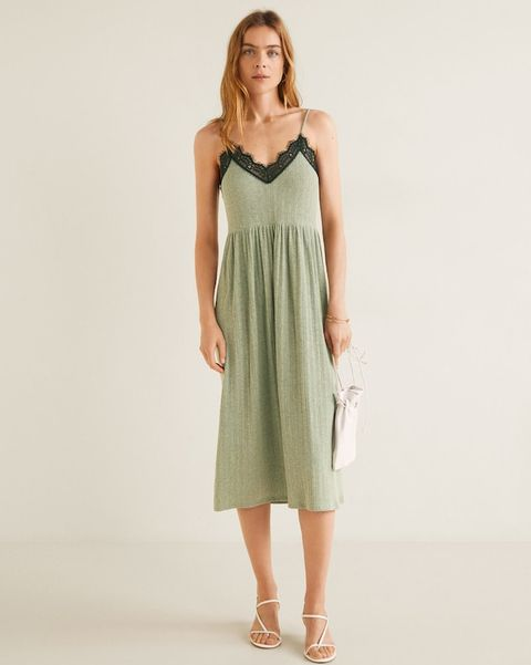 Clothing, Day dress, Dress, One-piece garment, Fashion model, Bridal party dress, Waist, Neck, Shoulder, Pattern,