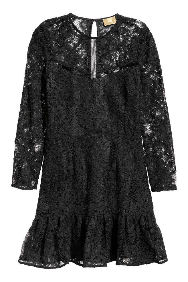 vestidonegro encaje H&M