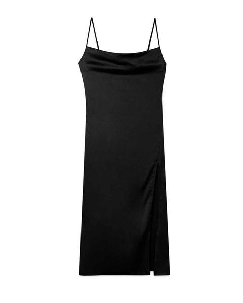 vestido lencero negro stradivarius