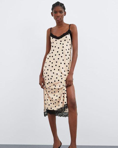 Clothing, Dress, Fashion model, Day dress, Pattern, Polka dot, Fashion, Brown, Cocktail dress, Design,