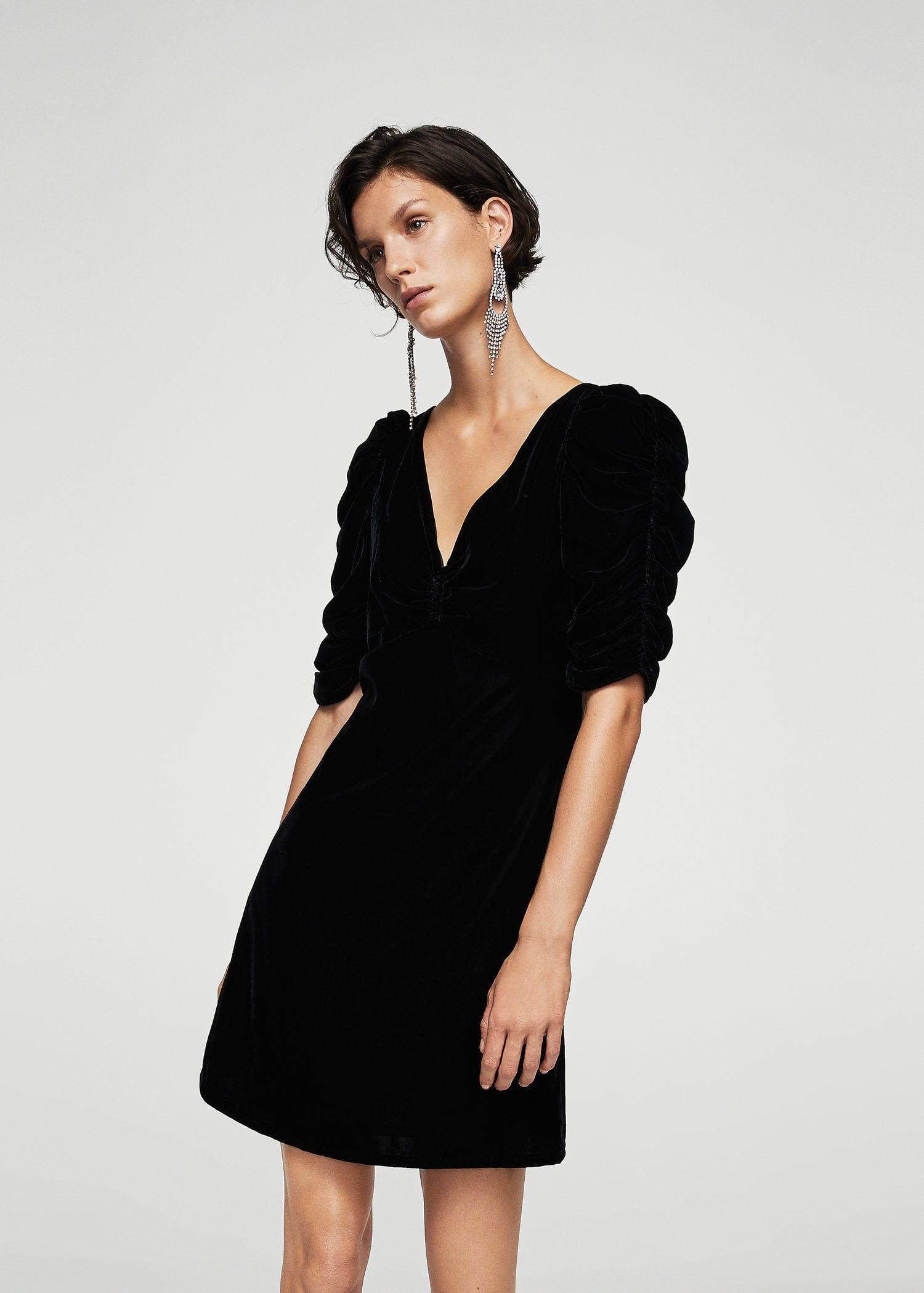 Vestido negro punto mango