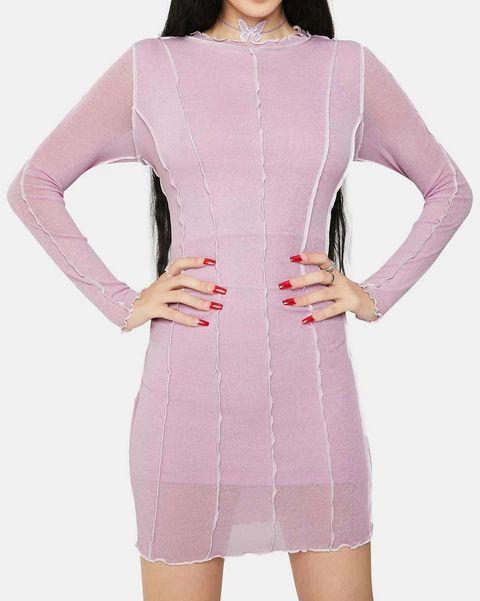 vestido rosa ribbed dollskill