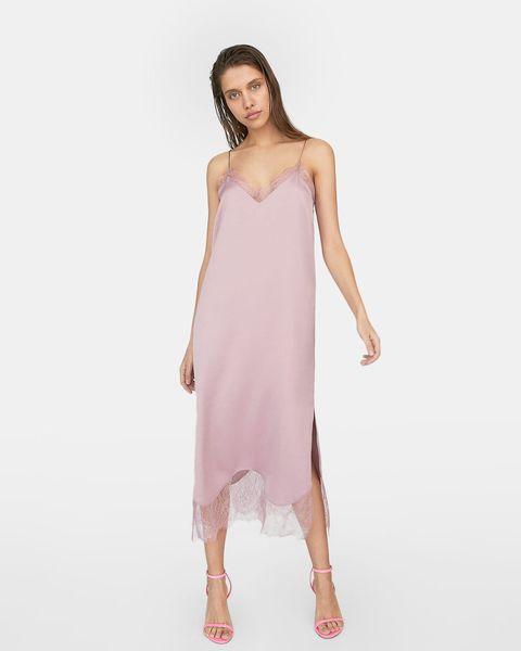 Clothing, Dress, Shoulder, Pink, Fashion model, Day dress, Strapless dress, Cocktail dress, Joint, Fashion,