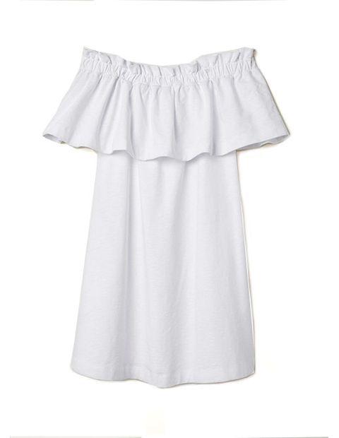 Clothing, White, Product, Ruffle, Dress, Textile, Blouse, Sleeve,