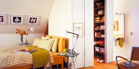 Furniture, Room, Interior design, Orange, Yellow, Bed, Property, Bedroom, Floor, Shelf,