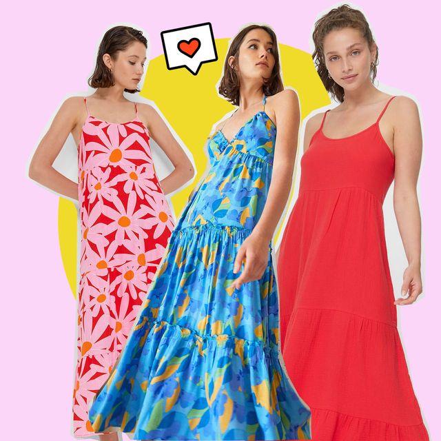 cinco vestidos para mujeres altas de stradivarius