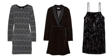 Clothing, Black, Little black dress, Outerwear, Overcoat, Coat, Dress, Robe, Sleeve, Formal wear,