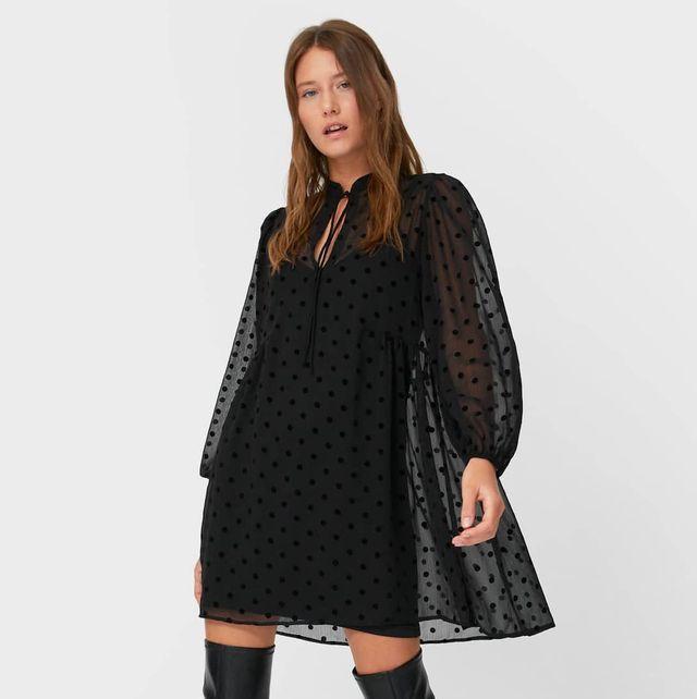 stradivarius vestido plumetti