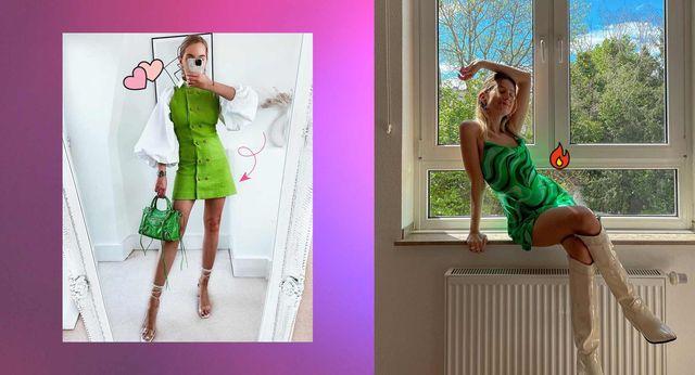 vestido verde estampado zara
