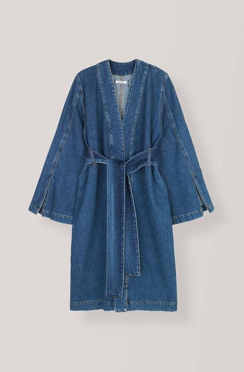 Clothing, Denim, Blue, Robe, Outerwear, Sleeve, Jeans, Textile, Nightwear, Dress,