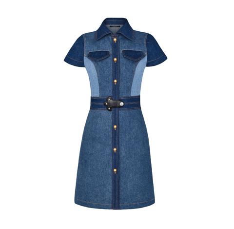 Clothing, Denim, Blue, Sleeve, Jeans, Dress, Day dress, Button, Outerwear, Textile,