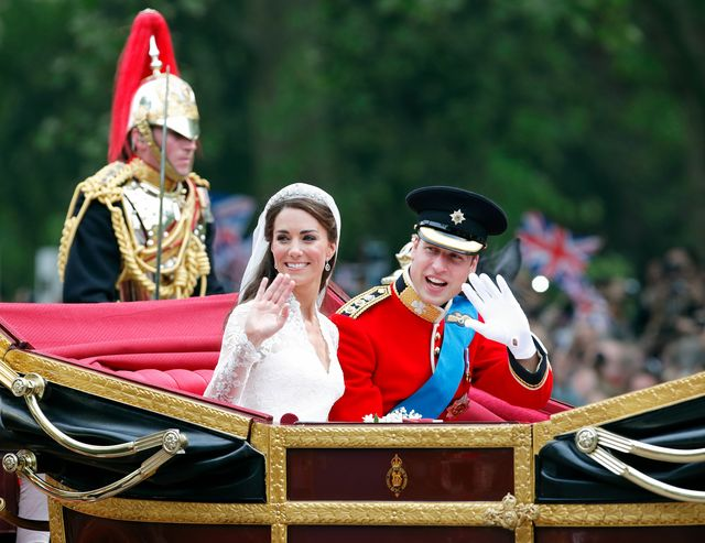 london, united kingdom   april 29 embargoed for publication in uk newspapers until 24 hours after create date and time catherine, duchess of cambridge and prince william, duke of cambridge wearing his red tunic uniform of the irish guards, of which he is colonel travel down the mall, on route to buckingham palace, in the 1902 state landau horse drawn carriage following their wedding ceremony at westminster abbey on april 29, 2011 in london, england the marriage of prince william, the second in line to the british throne to catherine middleton was led by the archbishop of canterbury and was attended by 1900 guests, including foreign royal family members and heads of state thousands of well wishers from around the world have also flocked to london to witness the spectacle and pageantry of the royal wedding photo by max mumbyindigogetty images