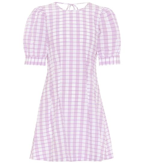 Clothing, White, Pink, Purple, Pattern, Day dress, Violet, Lavender, Dress, Sleeve,