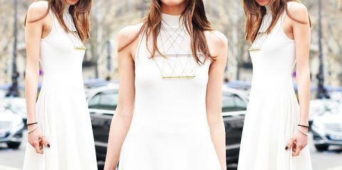 Clothing, Sleeve, Dress, Shoulder, Joint, White, Style, Waist, Beauty, Fashion,