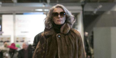 Textile, Sunglasses, Outerwear, Street fashion, Jacket, Winter, Goggles, Fur clothing, Fashion, Fur,