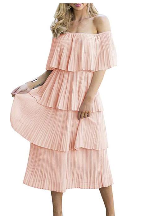 Clothing, Pink, Dress, Shoulder, Ruffle, Day dress, Product, Peach, Fashion, Cocktail dress,