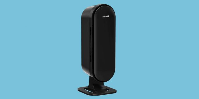 black air purifier with light blue background