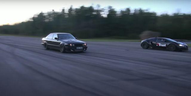 bmw m5 e34 drag races veyron