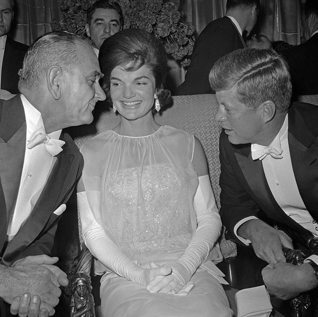 lyndon johnson talking with the kennedys