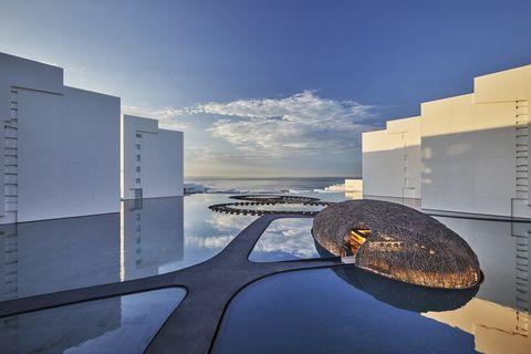 Sky, Architecture, Blue, Reflection, Cloud, Horizon, World, City, Urban design, Interior design,