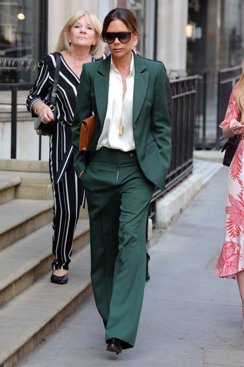victoria beckham traje verde