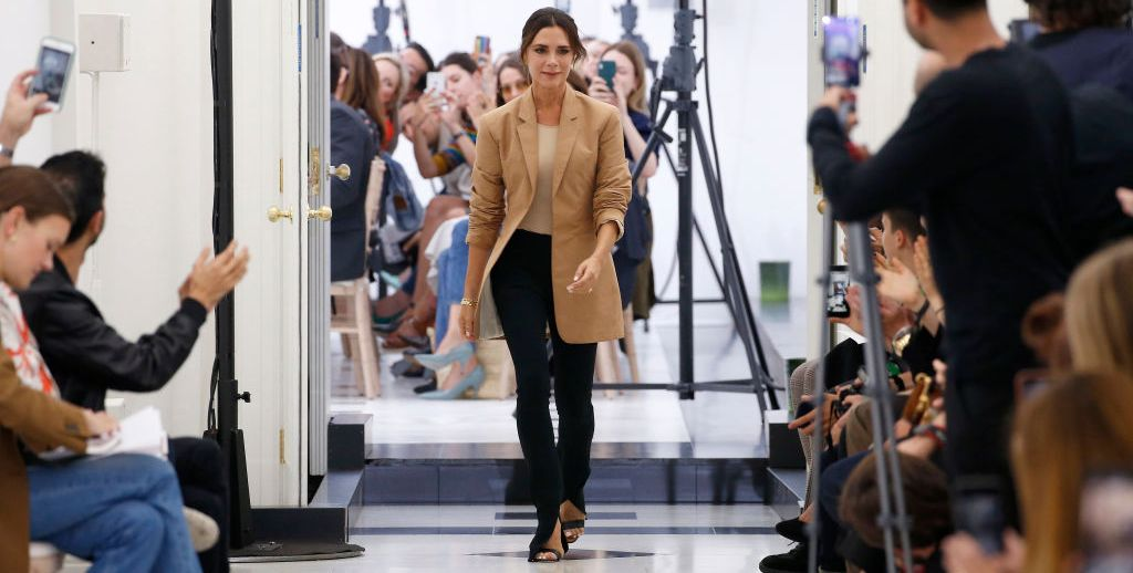 Victoria Beckham takes a bow during London Fashion Week spring/summer 2019