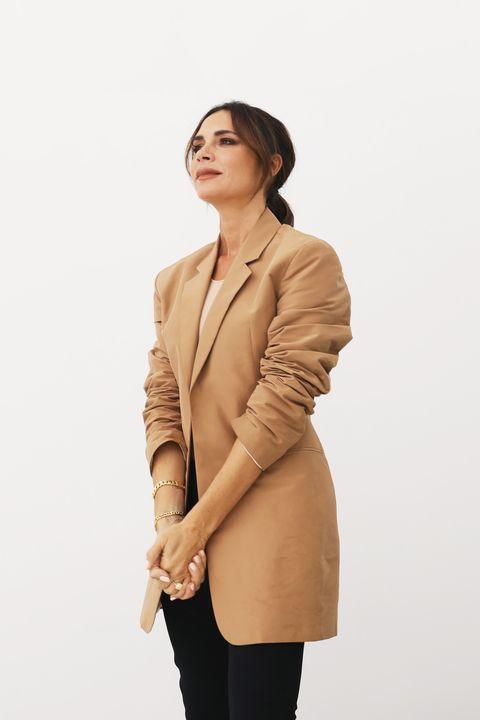 Clothing, Outerwear, Beige, Jacket, Sleeve, Shoulder, Blazer, Neck, Top, Coat,