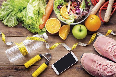 bodegÓn vida saludable fruta verdura y ejercicio
