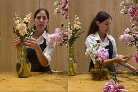 mireia aldomà crea arreglos florales con peonías