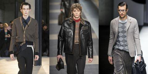 Clothing, Fashion model, Fashion, Leather, Jacket, Leather jacket, Outerwear, Suit, Textile, Human,