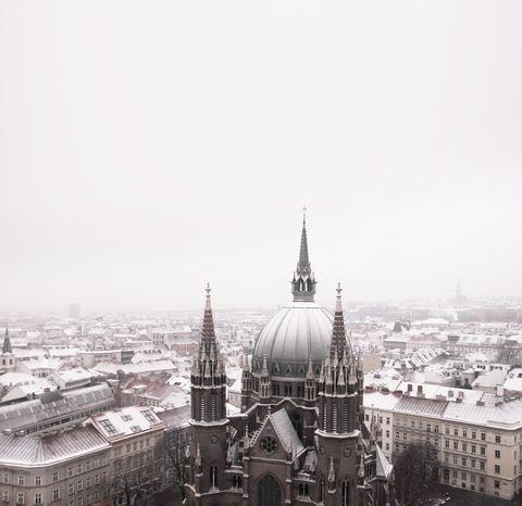 Snowy skyline Vienna Austria in winter