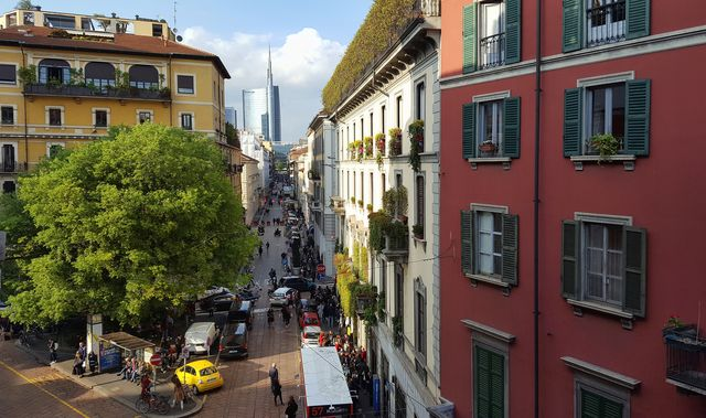 view from above of residential buildings in via solferino, in the fashionable district of brera, milan, italy