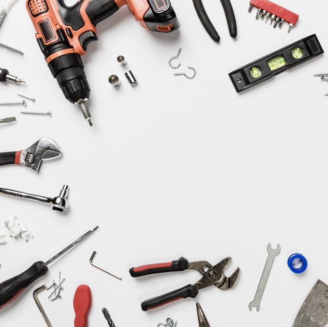 view from above tools in circle on white background   knolling