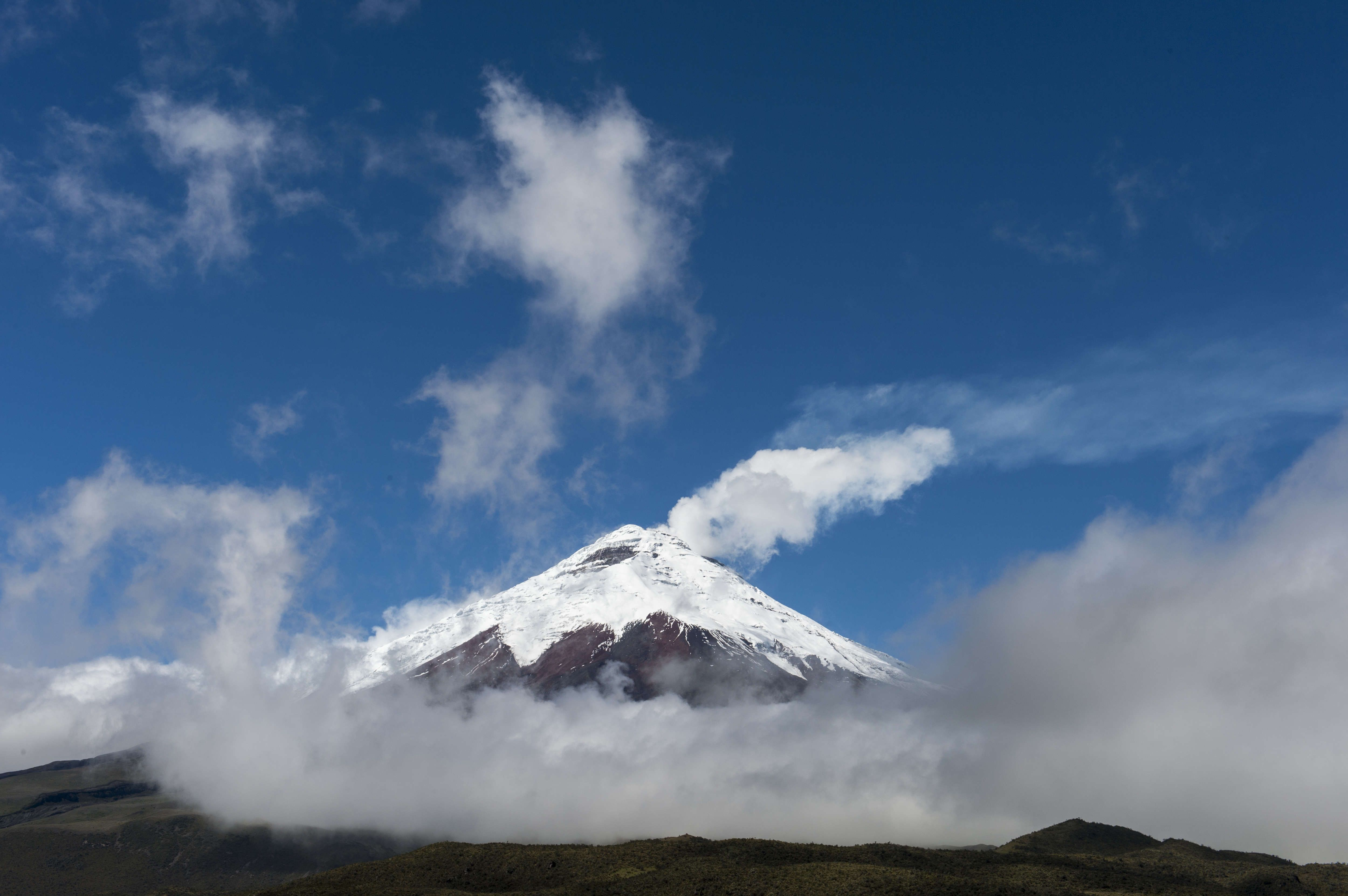 View from the Cotopaxi National Park of Cotopaxi volcano (5,...