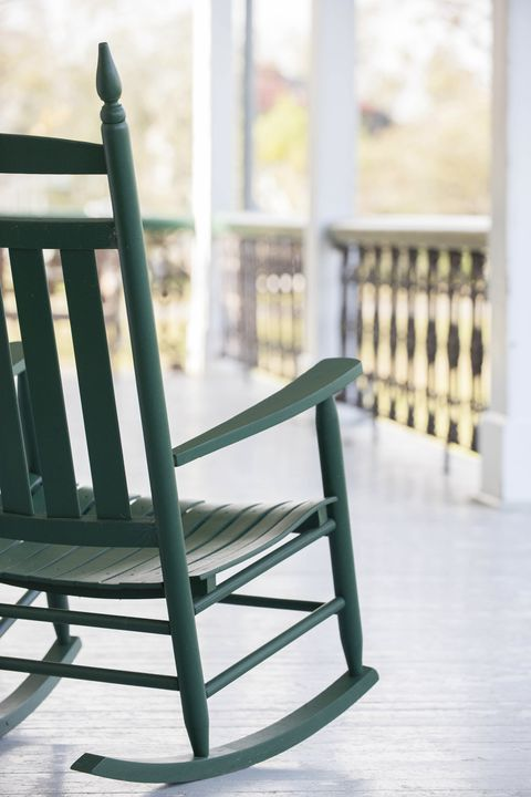 View of a rocking chair on a porch in southern Louisiana, USA