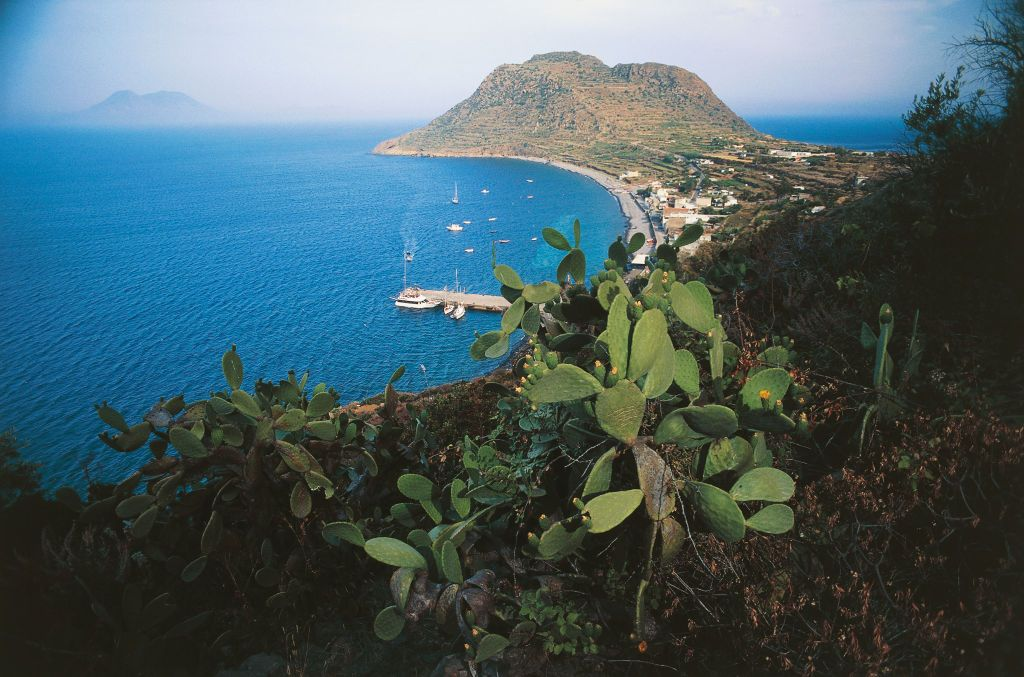 View of Cape Graziano and port of Filicudi, Sicily