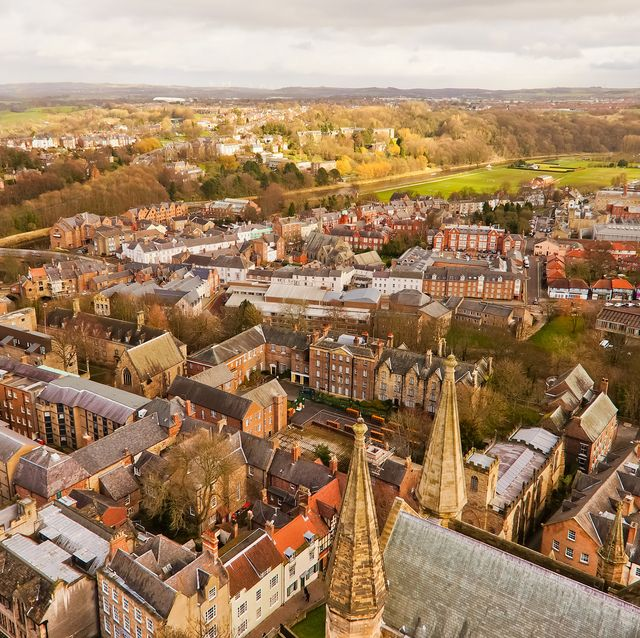a top view of durham city this picture was taken on durham tower which is a part of durham cathedral, england