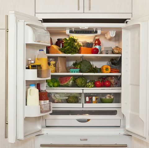 view of inside of refrigerator with healthy food