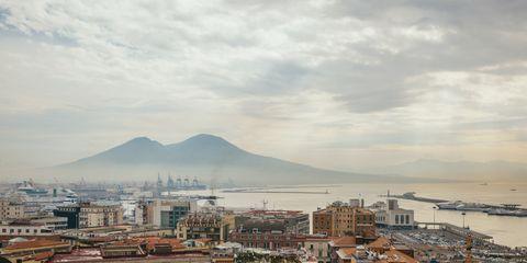 View of Mount Vesuvius over Naples, Italy