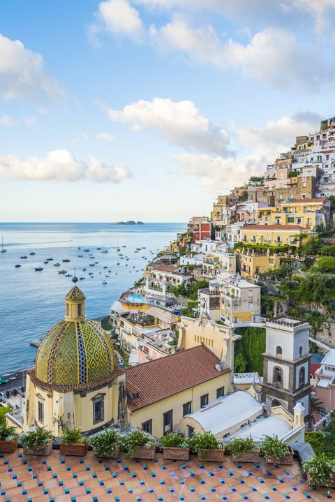 View of Positano cityscape and coastline