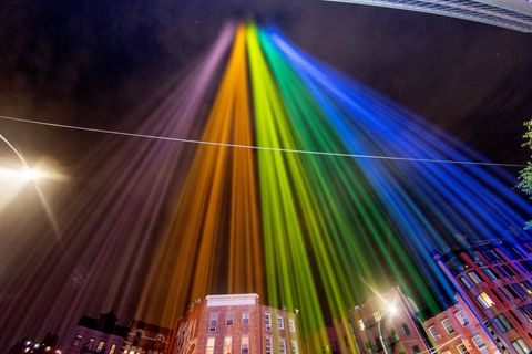 new york city lights up in support of the 50th anniversary of the first gay pride march