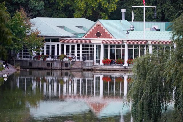 a view of the central park's historic loeb boathouse