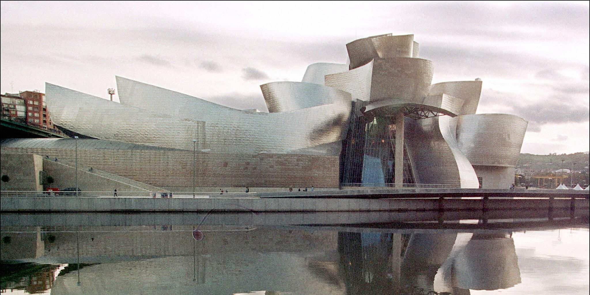 View of the new Guggenheim museum by the river Bil